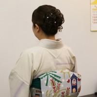 芝崎重一氏 紬訪問着 型絵染帯 クリスマス 熊本市中央区 着物専門店