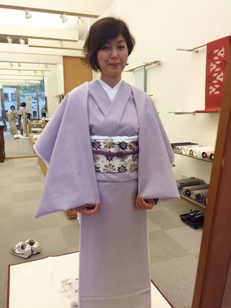 シンプルでエレガントなコーディネート 重要無形文化財本場結城紬 洛風林名古屋帯 着物で豊かな時間を過ごす 熊本市中央区 着物専門店 わのくに