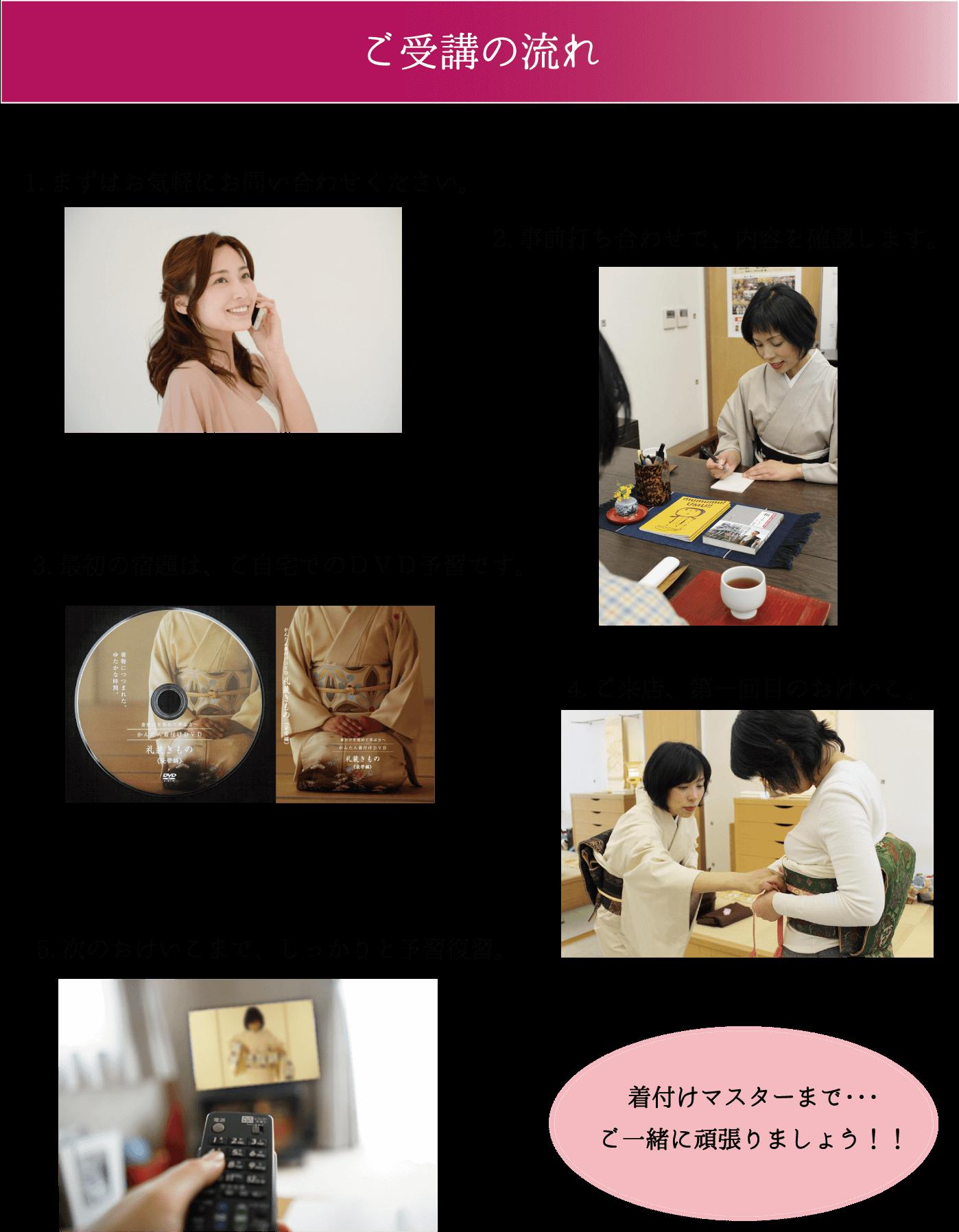 ご受講の流れ ご自宅での復習も大事です 前結び着付け教室 熊本市中央区 着物専門店 わのくに
