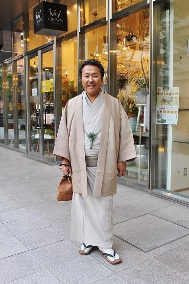 お客様のお着物姿 男性の着物姿 古代越後上布 夏大島 熊本市中央区 着物専門店 わのくに