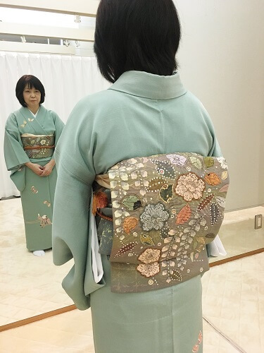 和の國着付け教室 1ヶ月マスターコース 袋帯の結び方 前結び 熊本市中央区 着物専門店 わのくに