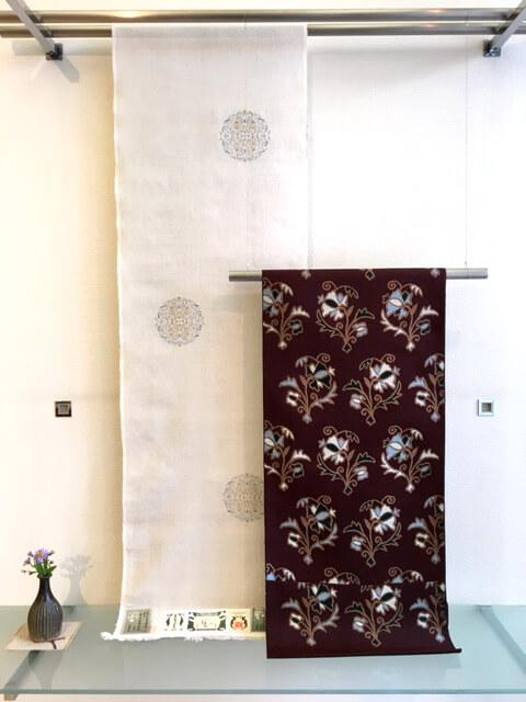 本場結城紬 地機 横絣 洛風林名古屋帯 ボハラ刺繍 熊本市中央区 着物専門店 わのくに