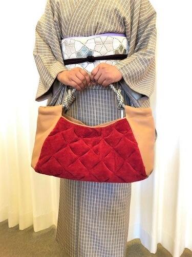 着物に合うバッグ 着物に合わせる たくさん入る キルティング 着物のコーディネート 熊本市中央区 着物専門店 わのくに