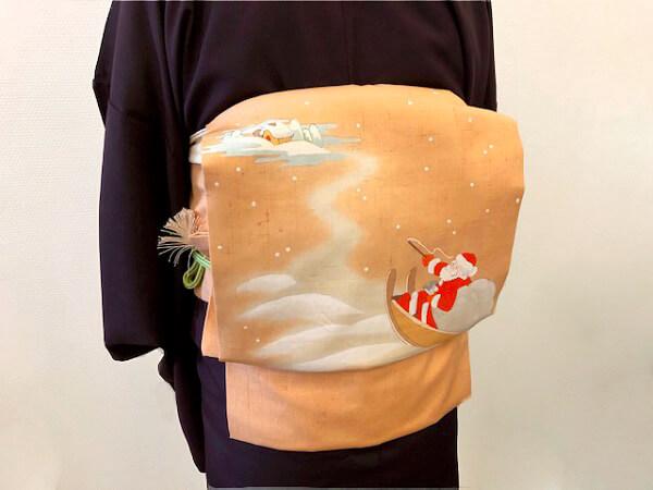 季節を楽しむ 染名古屋帯 クリスマスの帯 おしゃれな装い 着物コーディネート 熊本市中央区 着物専門店 わのくに