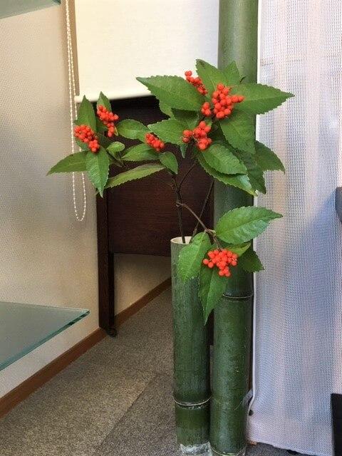 2019年 新年を寿ぐ 和の室礼 千両 竹の花器 熊本市中央区 着物専門店 わのくに