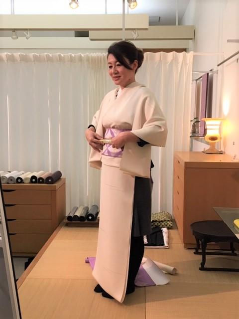 上品な着物 飛び小紋 洛風林名古屋 フランスドレス文 着物コーディネート お見立て 熊本市中央区 着物専門店 わのくに