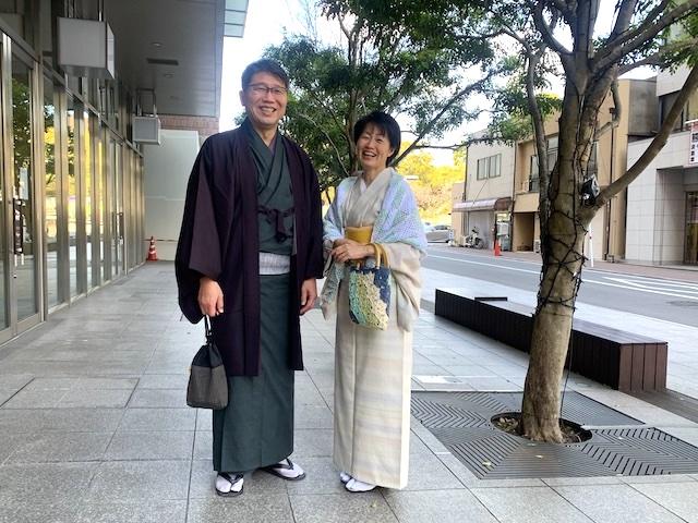 夫婦で着物 着物デート 結城紬 和の國 熊本市中央区